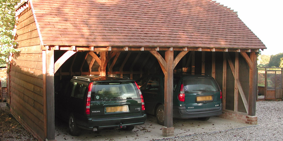 Double Oak Bay Carport With Cropped Hipped Roof From The