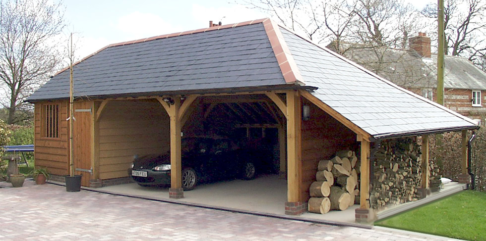 Two Oak Bay Carport Workshop And Log Store From The